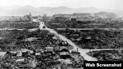 长崎原子弹爆炸中心惨状。(资料图片)
