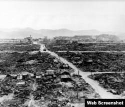 长崎原子弹爆炸中心惨状(资料图片)
