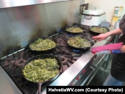 Fried Ramps being prepared before the annual Ramp Supper in Helvetia, West Virginia.