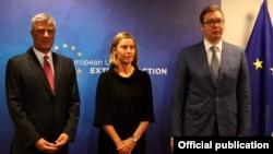 Visoka predstavnica EU Federika Mogerini sa predsednicima Srbije i Kosova, Aleksandrom Vučićem i Hašimom Tačijem u Briselu