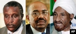Leading candidates in Sudan's first multiparty presidential election, from left, Yasir Arman, Omar al-Bashir and Sadiq al-Mahdi (file photos)