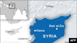 Map of Hama and Deir al-Zor in Syria