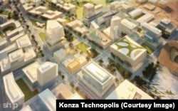 An artist's rendering shows a main boulevard concept of office buildings in the Konza Technopolis.