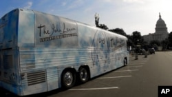 The John Lennon Educational Tour Bus, seen here in Washington, DC, is on the road 10 months out of the year.
