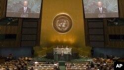 지난 9월 유엔 총회에서 핵무기 위협에 대해 발언하는 아마노 유키아 국제원자력기구 사무총장. (자료사진)