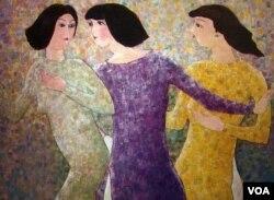 Ba Chị Em, sơn dầu trên bố 40'' x 52'', 2000; dưới: Người Đàn Bà, sơn dầu trên bố 40'' x 52'', 2000 [tư liệu gia đình Mai Chửng]
