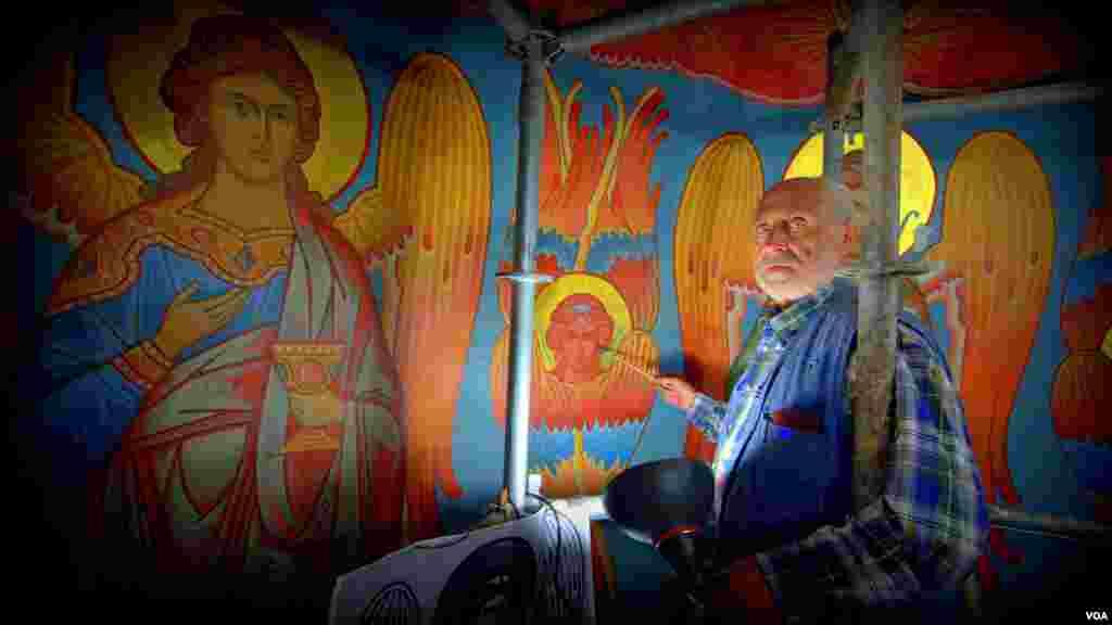 Реставрация в Свято-Николаевском Соборе в Вашингтоне (иконописец Александр Москалионов)