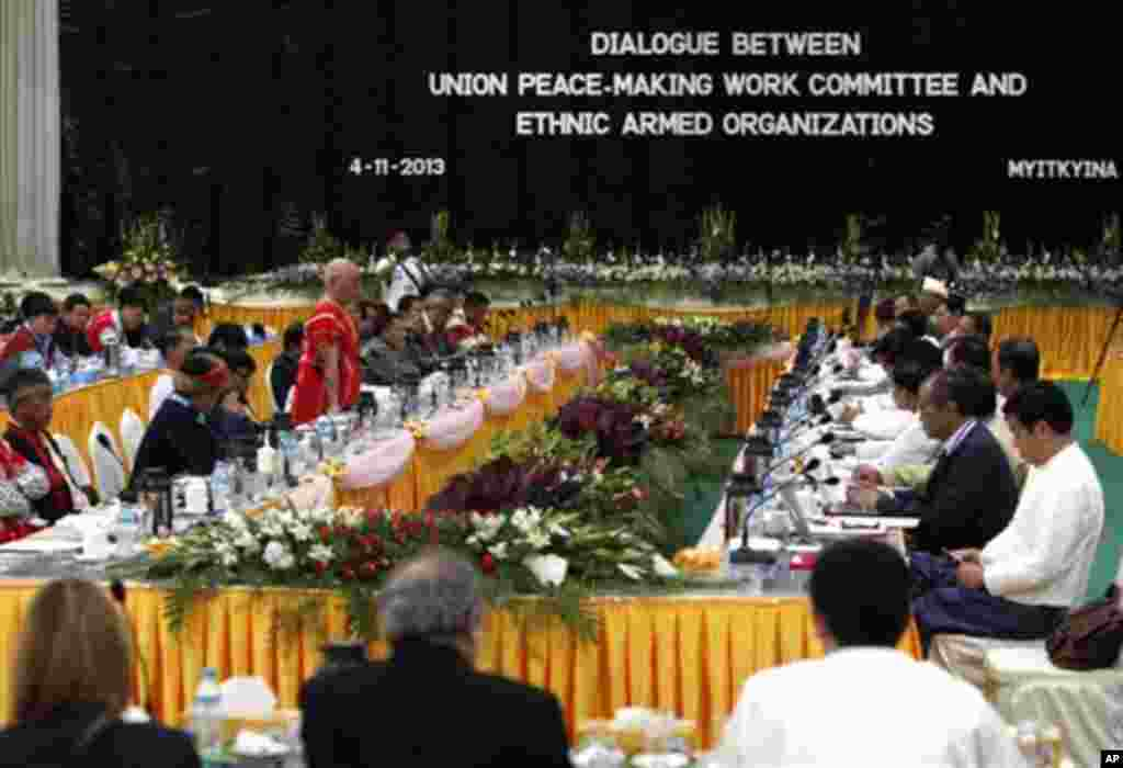 Gen. Mutu Say Poe, chairman of the Karen National Union (KNU), speaks on behalf of armed ethnic rebel groups during three days of talks with government peace negotiators that kicked off Monday, Nov. 4, 2013, in Myitkyina, the capital of Kachin State, Myan