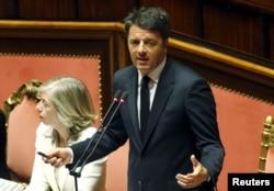 FILE - Italian Prime Minister Matteo Renzi, addressing Italian lawmakers in Rome, April 22, 2015.