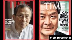 香港立法会主席曾钰成(左)、特首梁振英(苹果日报图片)
