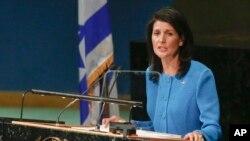 니키 헤일리 유엔주재 미국대사가 지난 29일 뉴욕 유엔 본부에서 연설하고 있다.