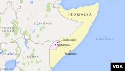 Peta wilayah Garbaharey, Somalia.