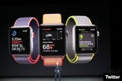 Apple Watch Serie 3, viene en nuevos colores y con capacidad de conectividad celular. Sept. 12, 2017.
