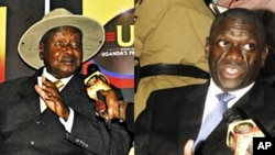 Uganda President Yoweri Museveni, left, being interviewed by a journalist, after he was nominated to run for presidential elections; Forum for Democratic Change's Dr. Kizza Besigye after being nominated for presidential elections in the capital city Kampa