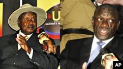 Uganda President Yoweri Museveni, kushoto; na mpinzani wake kutoka chama cha Forum for Democratic Change's Dr. Kizza Besigye, kulia.