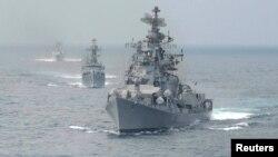Tàu của hải quân Ấn Độ. An ninh và tự do hàng hải là chủ đề nổi bật trong các cuộc đối thoại song phương và đa phương gần đây của Ấn Độ.