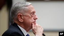 Defense Secretary Jim Mattis listens during a hearing of the House Armed Services Committee on Capitol Hill, Feb. 6, 2018, in Washington.