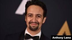 FILE - Lin-Manuel Miranda arrives at the 2016 Governors Awards, Nov. 12, 2016, in Los Angeles.