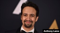 "FILE - Lin-Manuel Miranda, creator of the musical ""Hamilton,"" is an Oscar nominee for a song in the Disney film 'Moana.' He's one of just two Latinos in contention for an award."