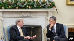 President Obama meets Prime Minister Rudd in the Oval Office of the White House