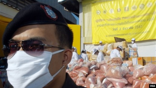 A policeman stands in front of pile of seized drugs during narcotics destruction ceremony in Thailand, 2004.