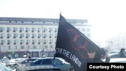 Абубекир Мурзакан в Нальчике на протесте против Олимпиады в Сочи перед арестом