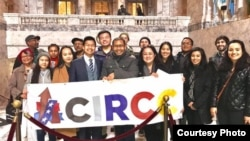 Sameth Mell, center, stands alongside members of the Coalition of Immigrants, Refugees, and Communities of Color (CIRCC) in Olympia, Washington, on Legislative Day. (Courtesy of Sameth Mell)