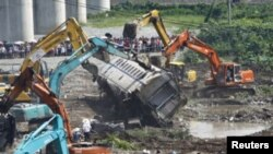 2011年7月温州动车追尾事故现场