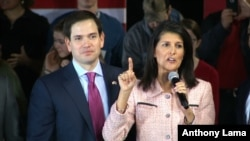 FILE - Gov. Nikki Haley, R-South Carolina, campaigns with Republican presidential candidate Sen. Marco Rubio, R-Florida, in Greenville, South Carolina, Feb. 18, 2016.