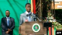 Le président zambien, Edgar Lungu, donne un point de presse à la Maison d'État zambienne à Lusaka, le 6 juillet 2017.