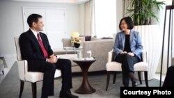 魯比奧參議員2016年6月24日曾經在邁阿密與台灣總統蔡英文會面(資料圖片)