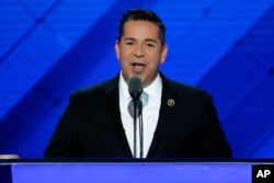FILE - Rep. Ben Ray Lujan, D-N.M., speaks during the third day of the Democratic National Convention in Philadelphia, July 27, 2016.