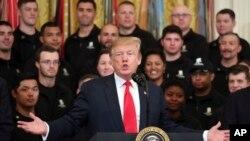 Presiden Amerika Serikat, Donald Trump di Gedung Putih, Washington, D.C., 18 April 2019.