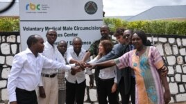 Circ MedTech president Tzameret Fuerst celebrates launch of PrePex at a Rwandan clinic (Courtesy Circ MedTech)