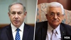 Waziri Mkuu wa Israeli Benjamin Netanyahu (kushoto), Rais wa Palestina Mahmoud Abbas,