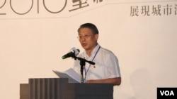 上海统战部长沙海林在台北上海双城论坛开幕式上致辞。(美国之音林枫拍摄)