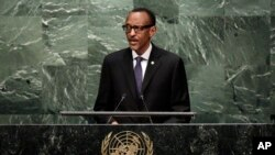 FILE - Rwanda's President Paul Kagame addresses the 70th session of the United Nations General Assembly, at U.N. Headquarters, Sept. 29, 2015.