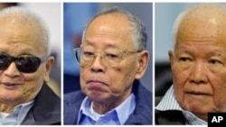 From left to right: Nuon Chea, former Khmer Rouge's chief ideologist and the No. 2 leader, Ieng Sary, former Khmer Rouge foreign minister, and Khieu Samphan, former Khmer Rouge head of state, during a trial for former Khmer Rouge top leaders, in Phnom Pen