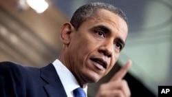 奥巴马在白宫记者会上谈国债限额