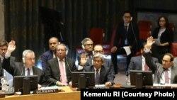 Wakil Menteri Luar Negeri A.M. Fachir menyampaikan komitmen Indonesia untuk mengadopsi resolusi untuk mencegah pendanaan terorisme, dalam sidang debat terbuka Dewan Keamanan PBB di NYC, Kamis (28/3) (courtesy: Kementrian Luar Negeri RI)