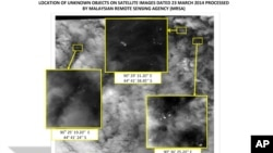 This graphic released by the Malaysian Remote Sensing Agency on Wednesday March 26, 2014, shows satellite imagery taken on March 23, 2014, with the approximate positions of objects seen floating in the southern Indian Ocean.