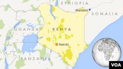 Peta wilayah Mandera, Kenya.