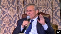 Former Secretary of Defense Donald Rumsfeld discusses his new memoir, 'Known and Unknown,' with members of the Union League Club in Chicago