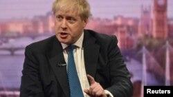 Britain's Foreign Secretary Boris Johnson attends the BBC's Marr Show in London, Apr. 15, 2018. (Jeff Overs/BBC handout via Reuters)