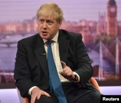 Britain's Foreign Secretary Boris Johnson attends the BBC's Marr Show in London, Apr. 15, 2018. (Jeff Overs/BBC handout via Reuters)