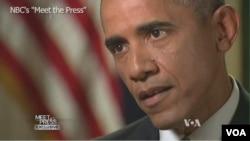 """奧巴馬總統在全國廣播公司的""""與媒體見面""""節目中"""
