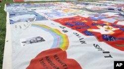Manta de retalhos de solidariedade com as vítimas da SIDA