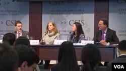 24일 미국 워싱턴의 민간단체인 '전략국제문제연구소(CSIS)'에서 올해 아시아 안보 전망에 관한 토론회가 열렸다. 왼쪽부터 잭 쿠퍼 선임연구원, 보니 글레이저 선임연구원, 수미 테리 한국석좌, 마이클 그린 부소장.