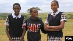 Masai girls, now in school instead of being married young, at Priscilla Nangurai's rescue center in Kajiado, Kenya