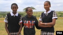 Masai girls, now in school instead of being married young, at Priscilla Nangurai's rescue center in Kajiado, Kenya, July 13, 2012. (VOA/Jill Craig)